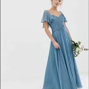 ASOS pleated bodice maxi dress with flutter sleeve
